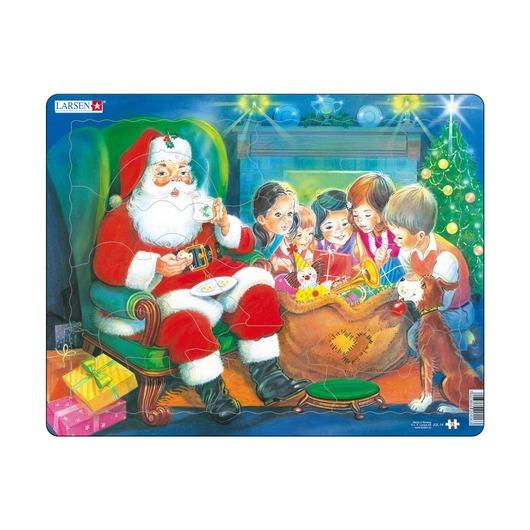 Пазл Санта с детьми, 15 деталей
