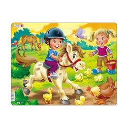 Пазл Дети на ферме и пони, 16 деталей