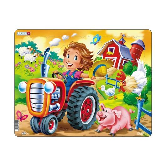 Пазл Дети на ферме и трактор, 15 деталей