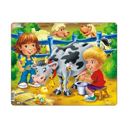 Пазл Дети на ферме и корова, 18 деталей
