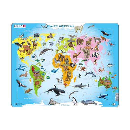 Пазл Карта мира с животными (русский), 28 деталей