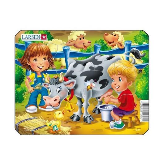 Пазл Дети с коровой, 9 деталей