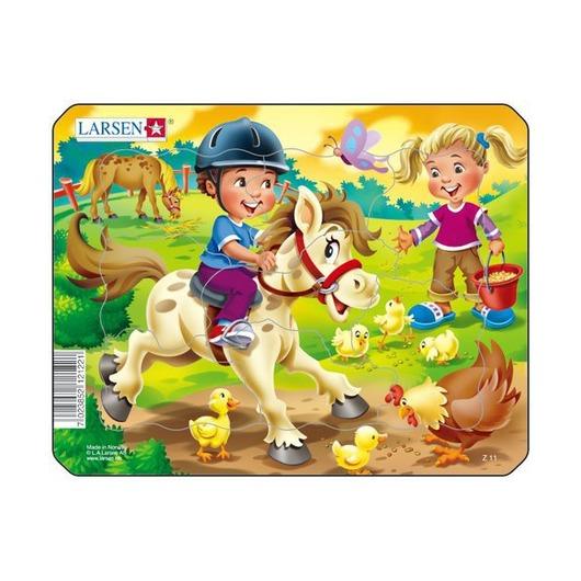 Пазл Дети на ферме, 9 деталей