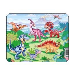 Пазл Динозавры на прогулке, 7 деталей