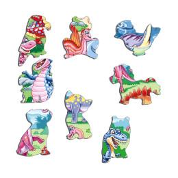 Пазл Динозавры в озере, 7 деталей